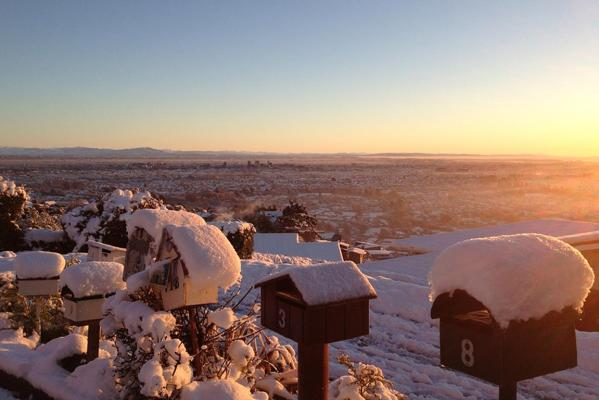 Winter blankets Christchurch, from the Port Hills.