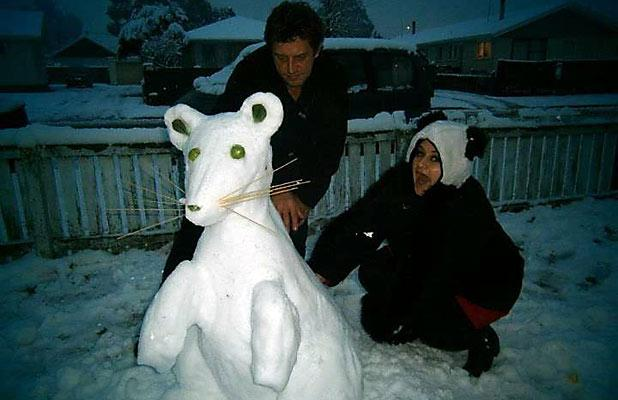 SNOW RAT: Snowy sculpture by the Van der Merwe family of Bromley.