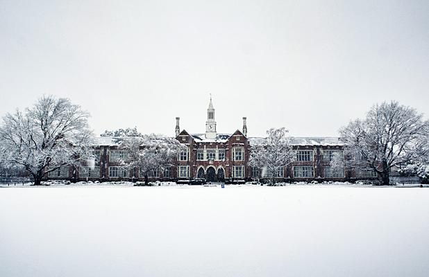 SCHOOL'S OUT: Christchurch Boys' High School blanketed in snow yesterday.