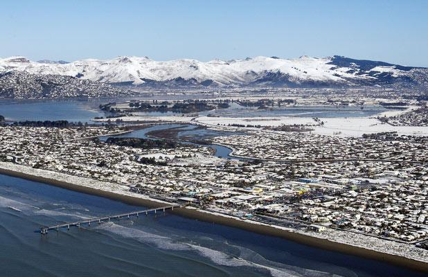 The Port Hills and Brighton with the pier.