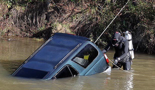 MISSING DRIVER: There were no people inside the vehicle when it was recovered in the river yesterday afternoon.