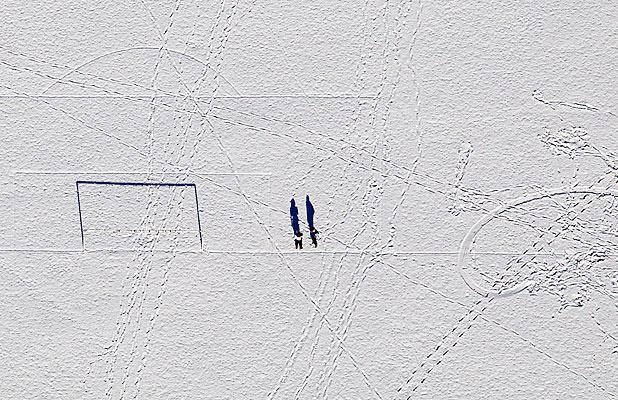 MAKING TRACKS: Hagley Park goal posts from the air.