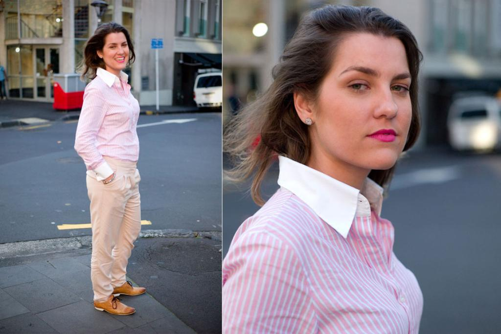 "Nathalia pictured on O'Connell St, Auckland in a shirt from Nicholas Jermyn. ""I've always gravitated toward men's styling."""