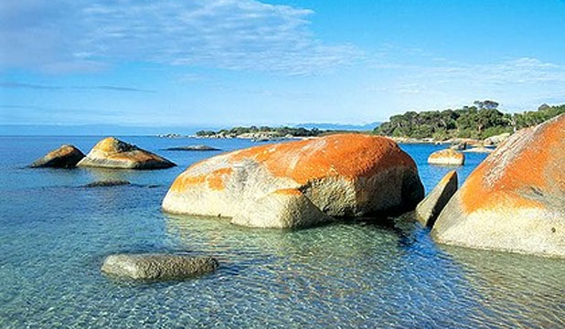 Sawyers Beach, around a 10-minute drive north of the main town, Whitemark on Flinders Island offers white sand, gin-clear water, lots of pretty boulders to clamber over or snorkel around and not another soul in sight.