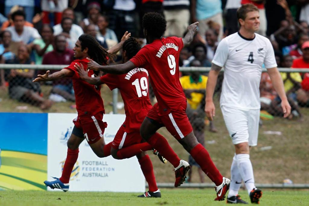 New Caledonia players celebrate Bertrand Kai's goal in the 2-0 victory over Ben Sigmund and the All Whites.