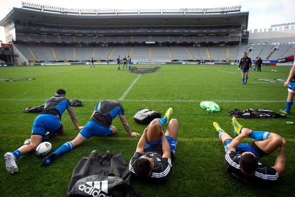 All Blacks stretching