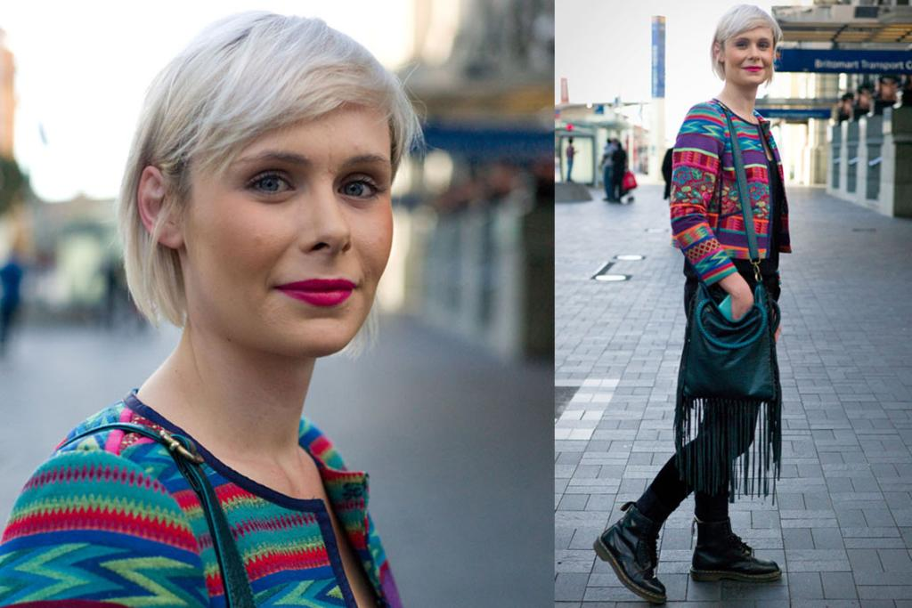 Photographed outside the train station at Britomart, Auckland, wearing a multi-coloured jacket from ASOS (with lipstick to match) and Workshop jeans.