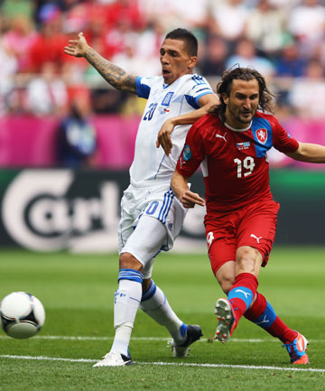 STRIKE ONE: Petr Jiracek scores the opening goal for the Czech Republic against Greece.