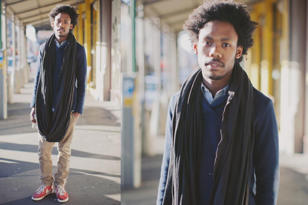 Brent, photographed on Cuba St, Wellington, wearing Nike Blazers, handmade scarf and ASOS chinos.