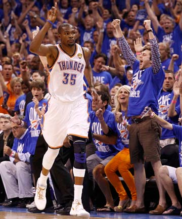 GETTING IT DONE: Kevin Durant had 17 of his 36 points in the fourth quarter in Oklahoma City's Game 1 NBA Finals win.