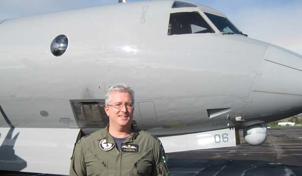 TOP PILOT: Squadron Leader Aaron Benton of Whenuapai is being recognised with a medal for his rescue mission in this P-3K Orion.