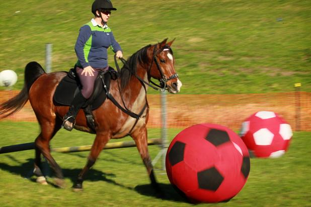 Helen Hansen taking part in 'Hoof Ball' at Fieldays.