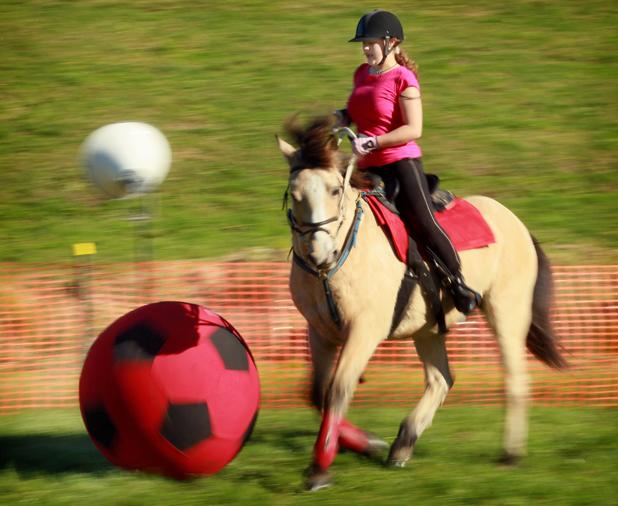 Katarina Torok taking part in 'Hoof Ball' at Fieldays.