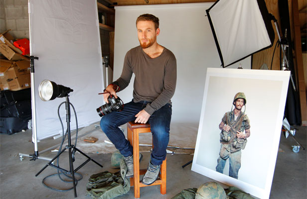 WAR ROOM: Dean O'Gorman in his makeshift photography studio in Wellington's Seatoun while filming continues on The Hobbit.
