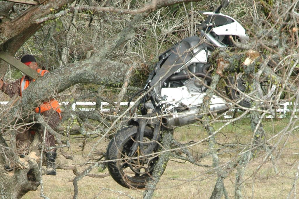 The motorcycle hit a drain, cleared a driveway and ended up in this tree next to the highway.