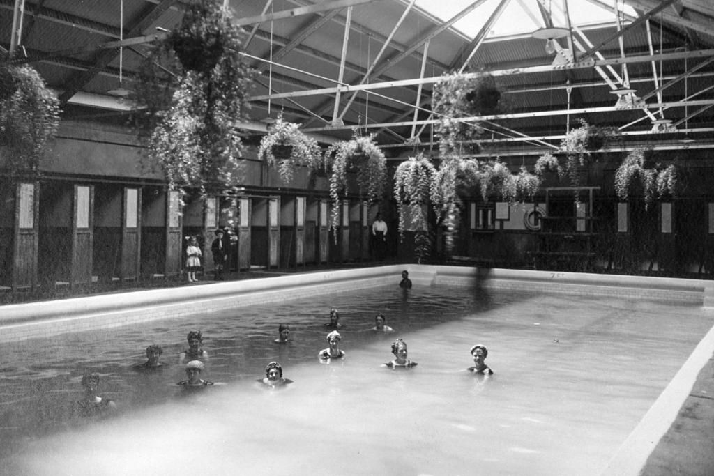 The women's pool at the Tepid Baths from 1910.