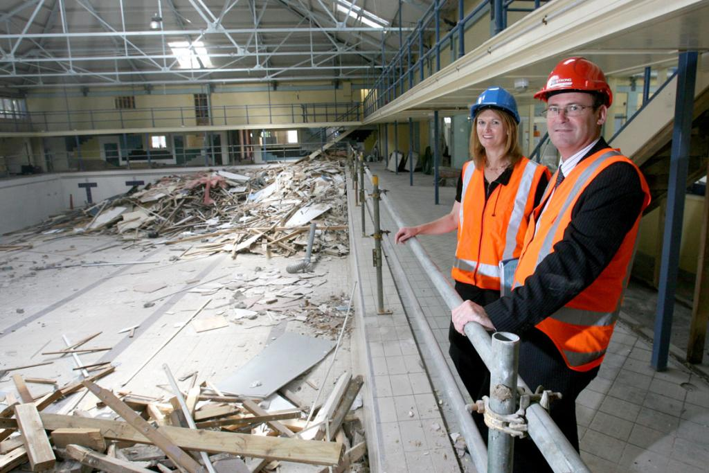 Council officer Sharon Rimmer (left) and Shale Chambers, Waitemata Local Board Chair, as demolition begins.