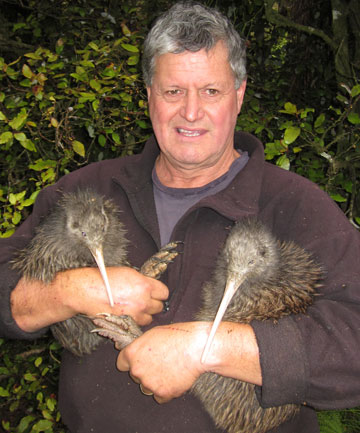 Contractor Barry Crene, who monitors the kiwi