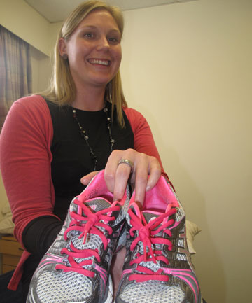 RAISING MONEY: Physiotherapist Alana Hill is raising money for the Pink Pilates Trust by selling pink shoelaces at Monday's netball game.