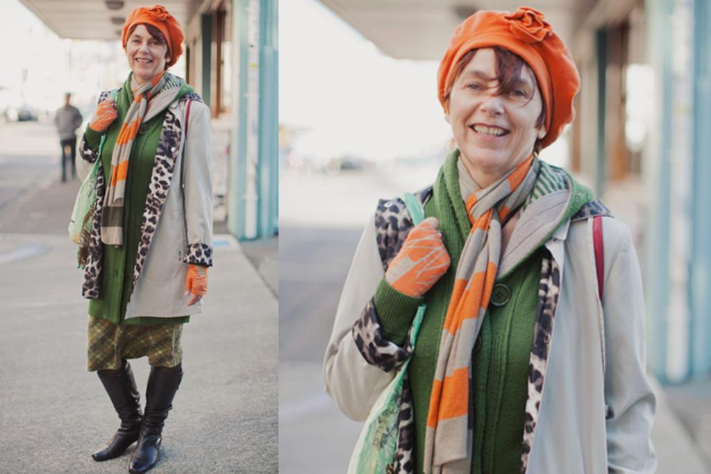 Karen, photographed on upper Cuba St, Wellington, wearing a Voon skirt, Jill Main gloves and vintage Urban Turbans hat.