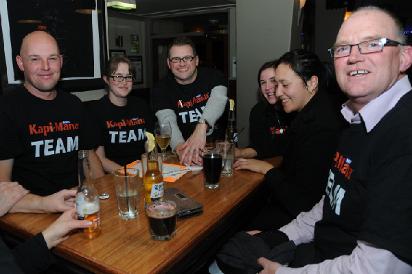 TEAM KAPI-MANA: Staff competing at a quiz night. From left, reporters Kris Dando, Andrea O'Neil, editor Matthew Dallas, sales consultants Jess Collins, Kylie Wihapi, manager Richard Gordon.