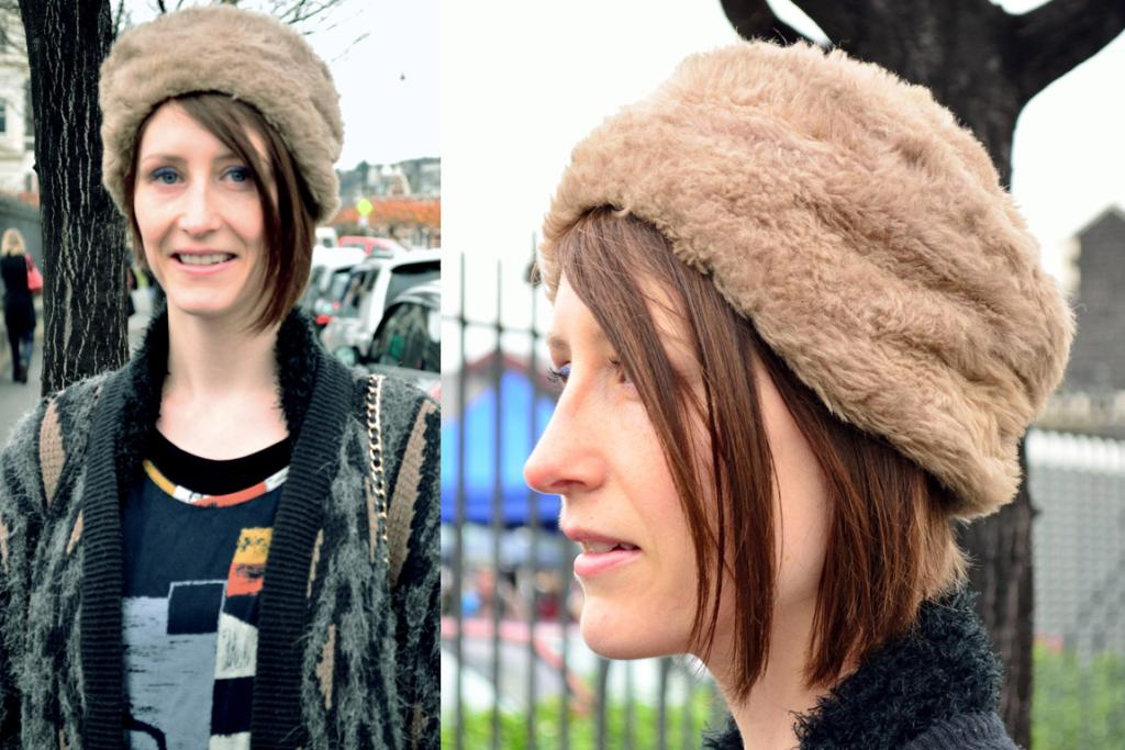 Tannia Lee, photographed on Anzac Ave, Dunedin, wearing a Box Of Birds hat and cardigan from Most Wanted Vintage.