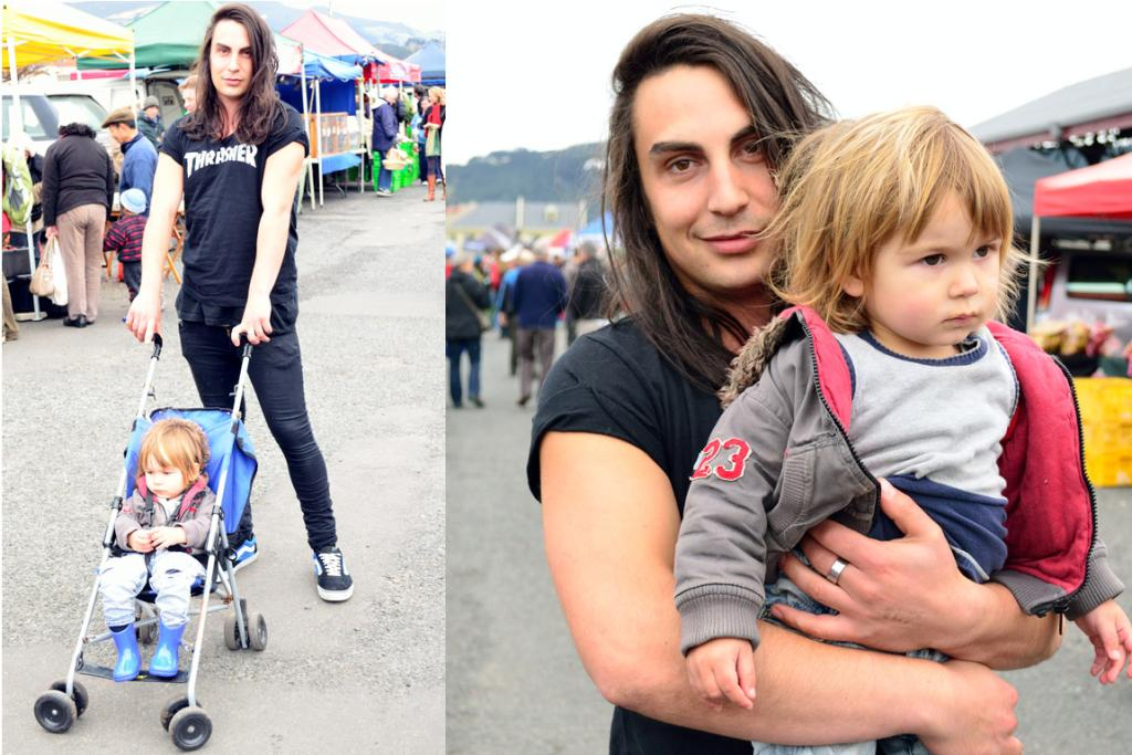 Sam Strathdee and son Billy, photographed at the Otago Farmers' Market, wearing a custom-made Thrasher T-shirt and Vans.