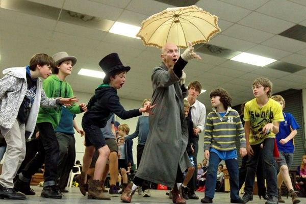 Some of the young cast rehearse next to Richard O'Brien, centre, who plays Fagin.