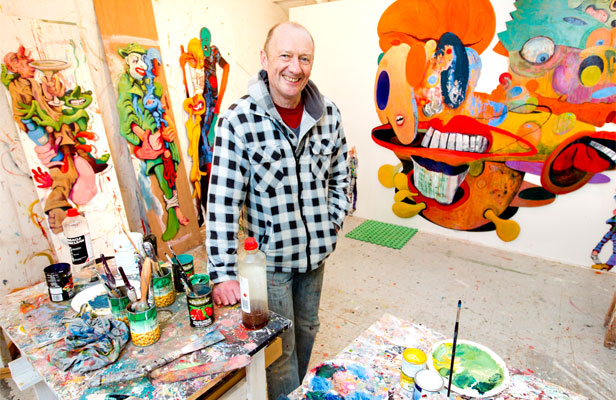 Rob McLeod in his studio in Wellington's Mt Victoria. He taught art at Wellington High School for 34 years until six years ago.