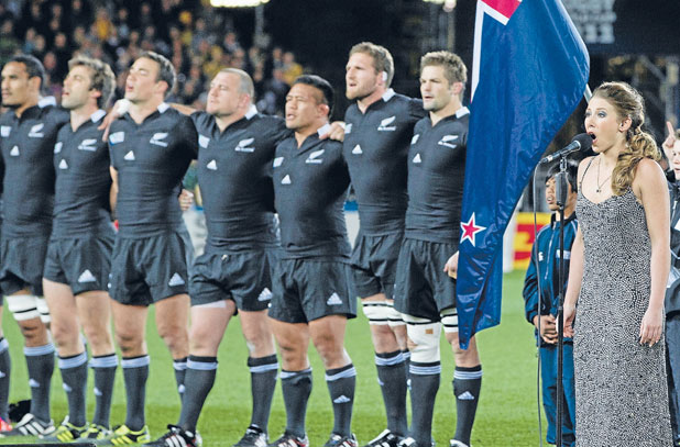 BIG OCCASION: Elizabeth Marvelly sings the national anthem before last year's Rugby World Cup semifinal between the All Blacks and Australia.