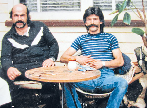 GOOD TIMES: Emanouel Souris, left, and Jordan Voudouris hang out together at a Greek friend's house in Kelston, Auckland, in the early 1990s.