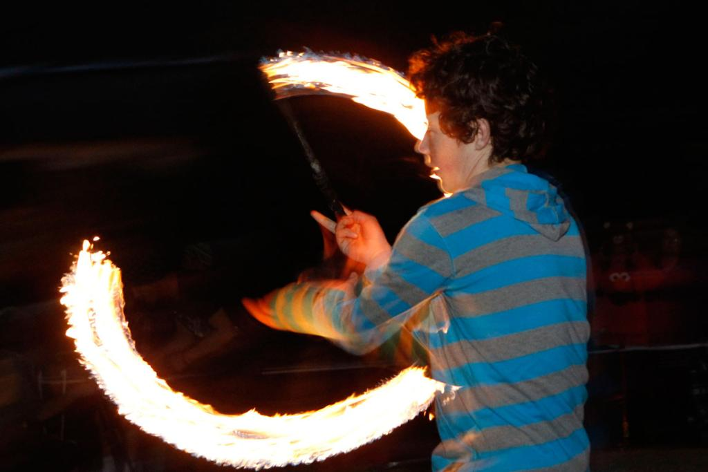 Nick Davidson, 14, during the fire and drumming performance at the Matariki celebrations in Nelson.