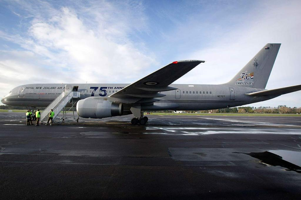 WWII veterans begin their journey from Auckland to London to commemorate New Zealanders who lost their lives during bombing raids over Germany. Pictured is the Royal New Zealand Air Force 757.