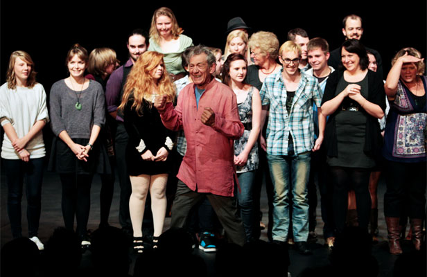 INSTANT ENSEMBLE: Sir Ian McKellen performs at the Clarence St Theatre in Hamilton during his tour. Audience participation is an important part of his show.