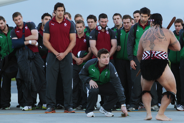 ALARMED: Ireland's rugby team touched down at Hamilton International Airport to a Maori welcome on the tarmac.