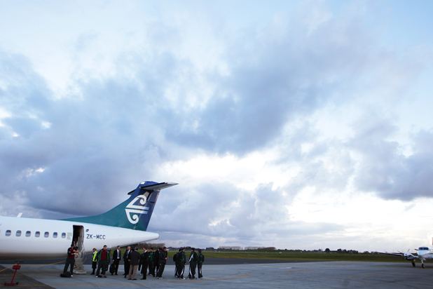 Irish Rugby team arrive at Hamilton Airport ahead of Saturdays test match against the All Blacks.