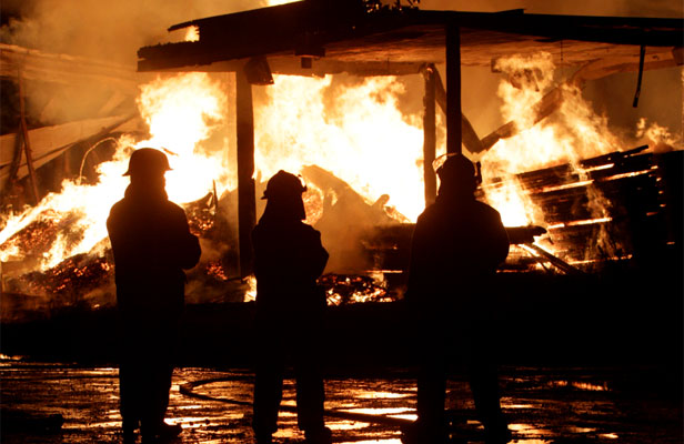INFERNO: Firefighters at the scene of a large fire in Foxton last night.