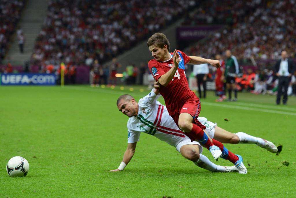 Vaclav Pilar of Czech Republic goes past the challenge from Pepe of Portugal during their quarter-final match.