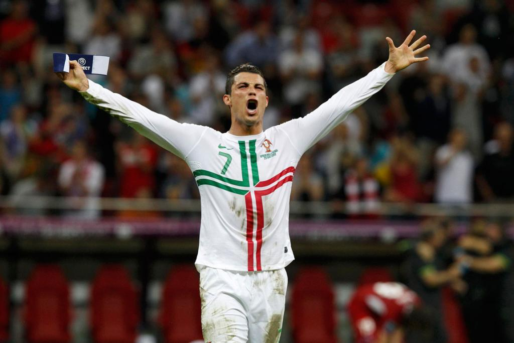 Portugal's Cristiano Ronaldo celebrates after defeating Czech Republic in their quarter-final match.