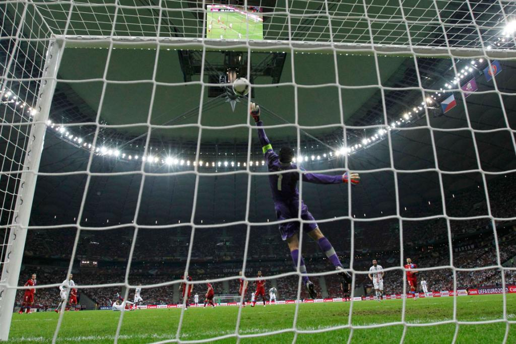 Czech Republic's goalkeeper Petr Cech makes a save during their quarter-final match against Portugal.