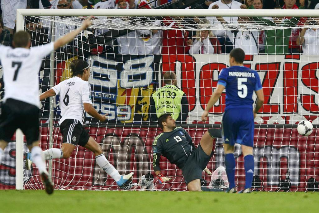 Germany's Sami Khedira (6) scores a goal during their quarter-final match against Greece.