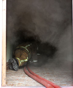Stop, drop and roll - the simple formula will keep you safe in a smoke filled house.