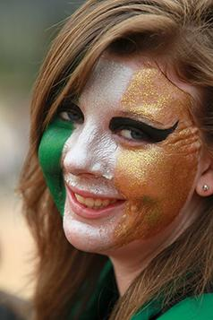 SMILING IRISH EYES: Roisin Mooney chose a dramatic look to show her allegiance to Ireland.