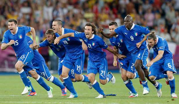 THE MOMENT: Italian players react after their team beat England on penalties in the last of the Euro 2012 quarter-finals.