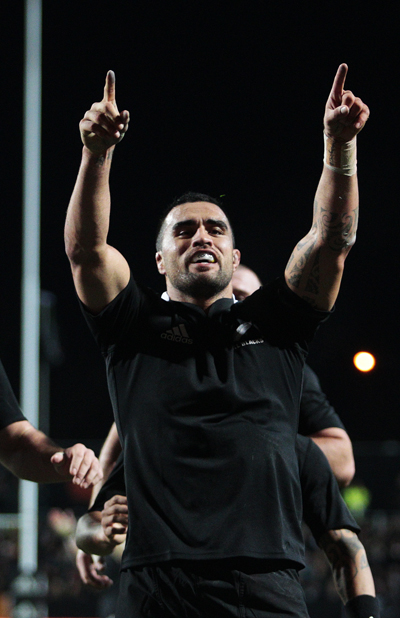 Liam Messam celebrates after scoring a try.