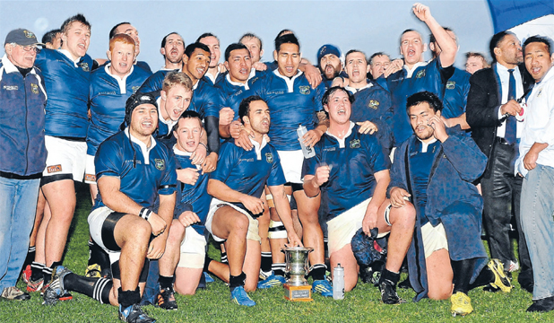 WINNERS ARE GRINNERS:  The Nelson team celebrate after beating Marist 35-0 in the Tasman Trophy final.
