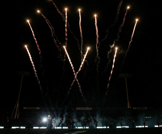 Fireworks at the Waikato Stadium during the third test between the All Blacks and Ireland.