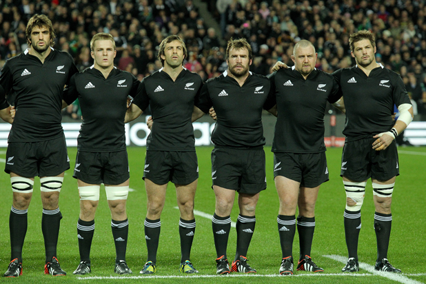 All Blacks sing the national anthem before the start of the third test against Ireland.
