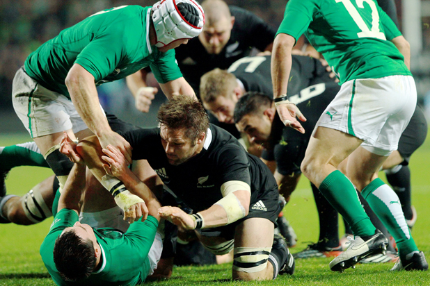 Richie McCaw in the thick of it during the third test against Ireland at the Waikato Stadium.