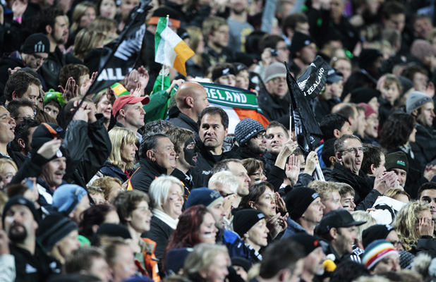 Chiefs coach Dave Rennie (centre) at the Waikato Stadium during the third test between the All Blacks and Ireland.